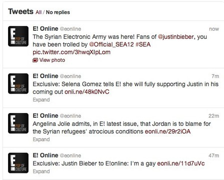 E! Online Twitter Account Hacked, Syrian Electronic Army Takes Credit | Security & Privacy Are Our Thing | Scoop.it