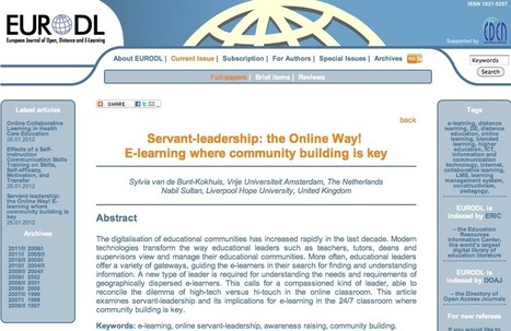 Servant-leadership: the Online Way!  E-learning where community building is key | Business and Economics: E-Learning and Blended Learning | Scoop.it