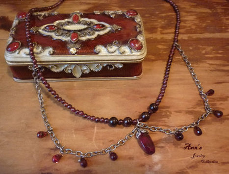 Vintage 1950's Glass from West Germany with Garnet Briolettes and Antique Silver Necklace | Ann's Jewelry Collection | Scoop.it