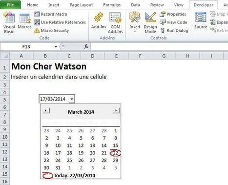 Excel: Insérer un calendrier dans une cellule | Tic's du formateur | Scoop.it