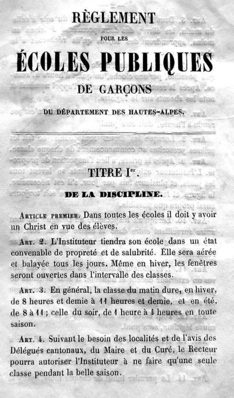 Réglement école publique de garçon - Hautes-alpes 1851 | Auprès de nos Racines - Généalogie | Scoop.it