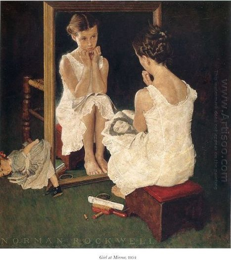 Oil painting reproduction: Norman Rockwell Girl at the Mirror - Artisoo.com | arts&oil | Scoop.it