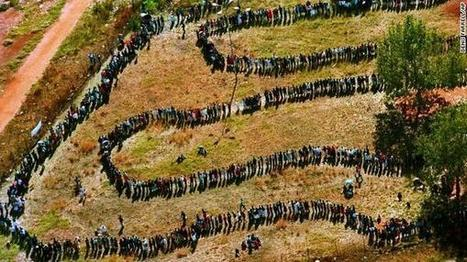 South Africa, April 27,1994: long line of people waiting to vote.   The Political Side of Things   Scoop.it