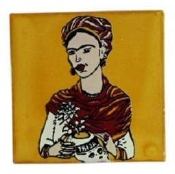 Frida Ceramic Hand Painted Tile in Yellow | Pottery and Furniture | Scoop.it