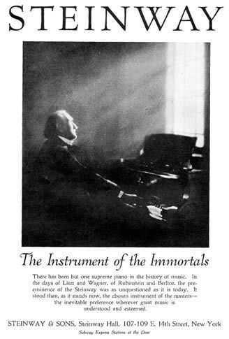 "Steinway & Sons and the Immortal Campaign ""The Instrument of the Immortals"" Advertising Campaign Raymond Rubicam 