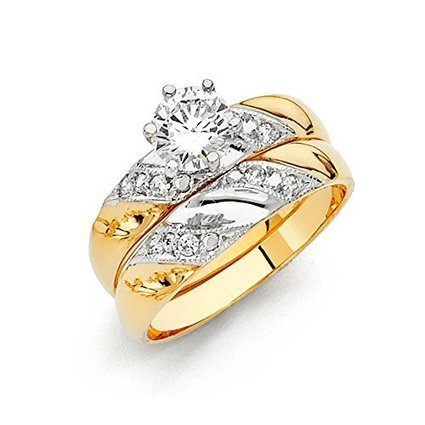 14k Two Tone Gold Engagement Ring and Wedding Band 2 Piece... | Jewelry Mall | Scoop.it