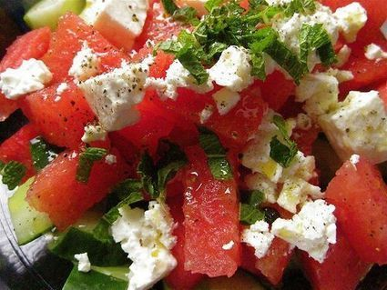 Watermelon Salad Recipe with Cucumbers, Mint and Feta Cheese | Delicious Recipes | Scoop.it
