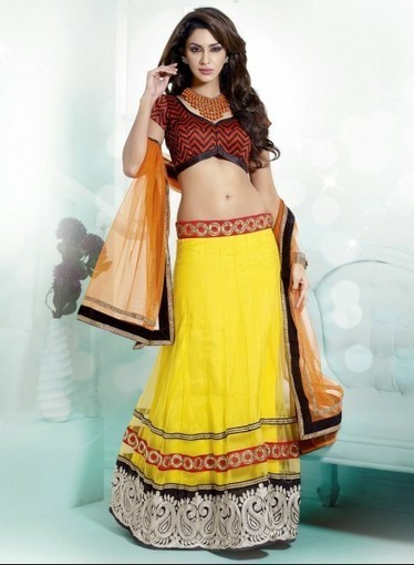 Shop online today, Lehnga Choli In Yellow with Gold Zardosi, Lace, Resham   Bridal Lehengas   Scoop.it