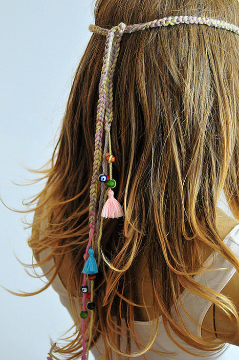 Crochet Gypsy Style Hair Band Pattern : Boho Crochet Headband bohemian beaded Hippie tassel hairband Hair ...