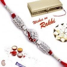 Keri design Silver Rakhi with stones in Premium Gift box   Rakhi Gifts to India, USA, UK, Canada, Australia   Scoop.it