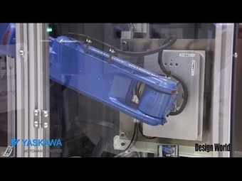 "Watch ""Motoman robot uses ultrasonics for cutting carpet, plastic, and more"" Video at designworldonline 