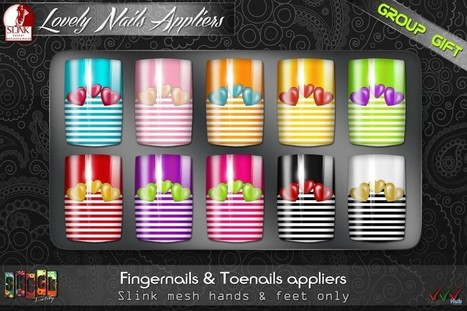 Slink Lovely Fingernails and Toenails Appliers Group Gift by SHOCK Factory | Teleport Hub - Second Life Freebies | Second Life Freebies | Scoop.it