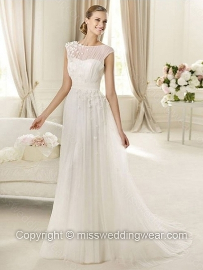 A-line Scoop Tulle Sweep Train Appliques Wedding Dresses   2014 wedding dress online   Scoop.it
