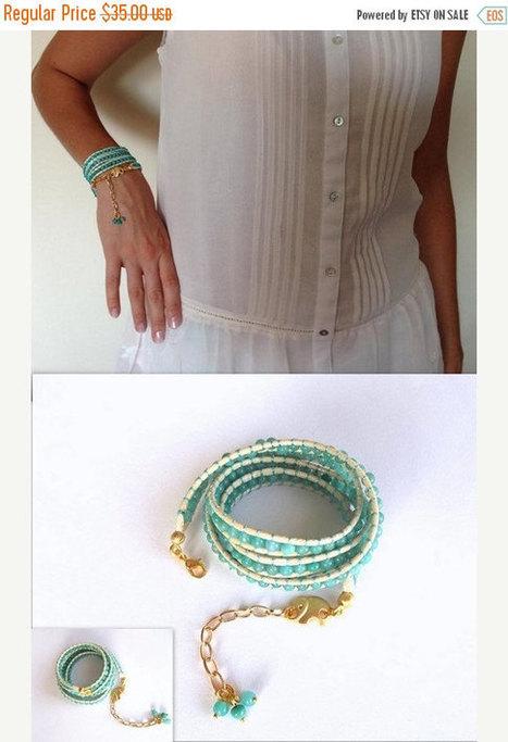 ON SALE Beadwork, Wrap Leather Bracelet, Jewelry, Elephant Bracelet, Christmas Gift, Mint Green Bracelet, Handmade Glass Beaded Bracelet, Bo | My Jewelrys | Scoop.it