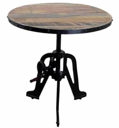 Vintage Industrial Style Iron and Wood Crank Table | Mexican Furniture & Decor | Scoop.it