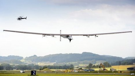 "Solar plane makes inaugural flight (""cleaning the air industry by reinventing the airplane - go solar"") 