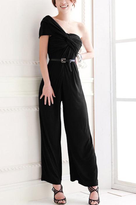 Elegant One Shoulder Ruched Jumpsuits - OASAP.com | Online Fashion | Scoop.it