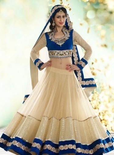 Shop online today, Designer Bridal Lehnga In Cream with Handwork, Diamonds   Bridal Lehengas   Scoop.it