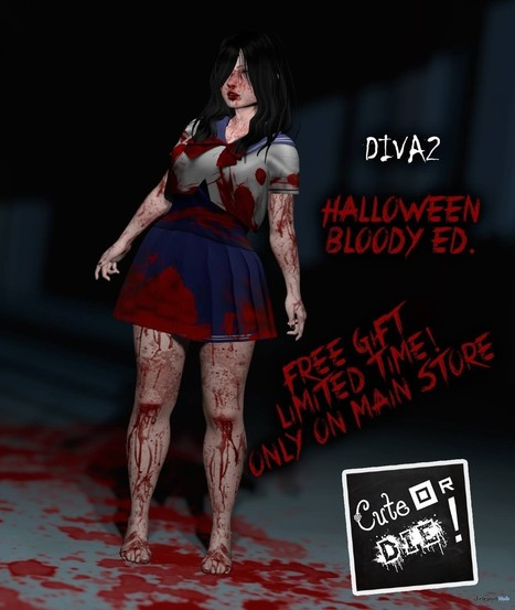 Diva2 School Girl Outfit Halloween Bloody Edition Group Gift by Cute or Die! | Teleport Hub - Second Life Freebies | Second Life Freebies | Scoop.it