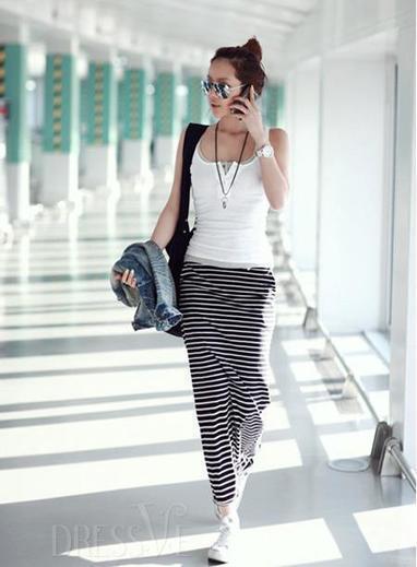 New Fashion Cotton Round Neck Striped Dress | Dressve fashion | Scoop.it
