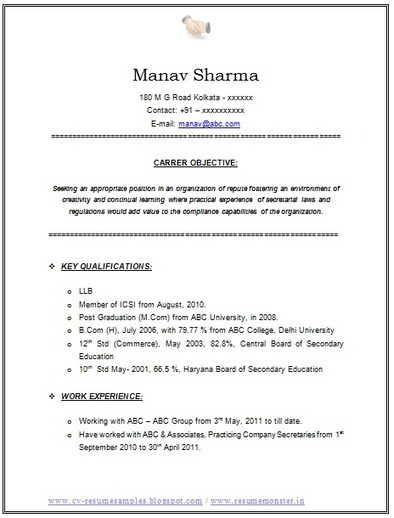 Resume For Llb Students Over 10000 CV and Resume Samples with Free Download: Resume Format For a LLB & CS