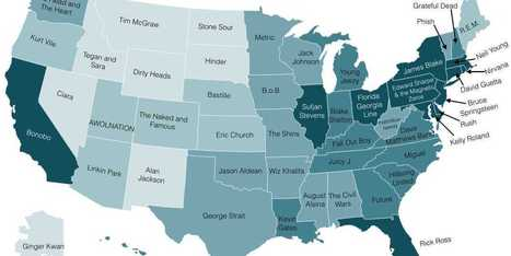 Here's Every State's Favorite Band   Geography: People, Places, and Cultures   Scoop.it