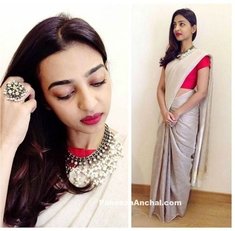 Radhika Apte in Pale Grey Saree with Red Blouse by Anavila | Indian Fashion Updates | Scoop.it