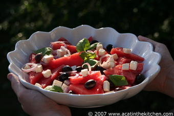 A cat in the kitchen » Blog Archive » Salad with feta cheese and watermelon | Recipe collection | Scoop.it