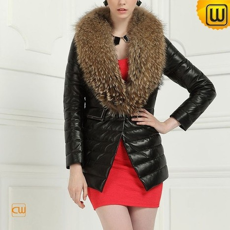 Raccoon Fur Trimmed Coat for Women CW613582 | Fur Trimmed Coats | Scoop.it