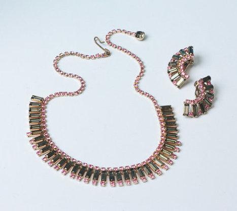 Pink and Olivine Green Rhinestone Necklace Earring Set Demi Parure Vintage   Vintage Jewelry   Scoop.it