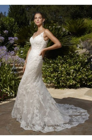 Sheath Spaghetti Strap V-neck White Lace Chapel Trailing Backless Wedding Gowns at 199dresses | wedding dresses collection | Scoop.it