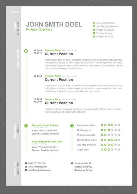 Free CV Resume PSD Template | Cezar | Scoop.it