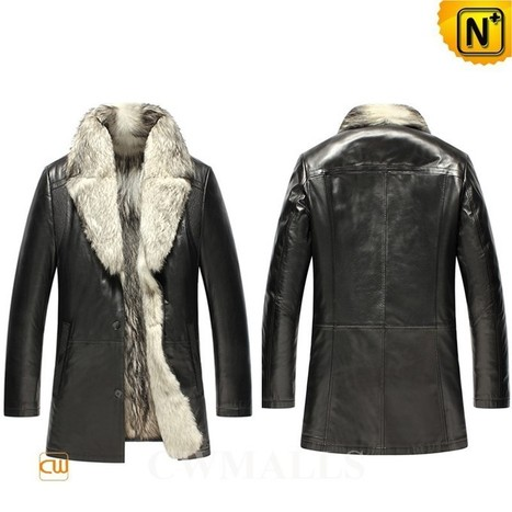 CWMALLS® Men Black Wolf Fur Jacket CW855587 | Leather Trench Coat | Scoop.it