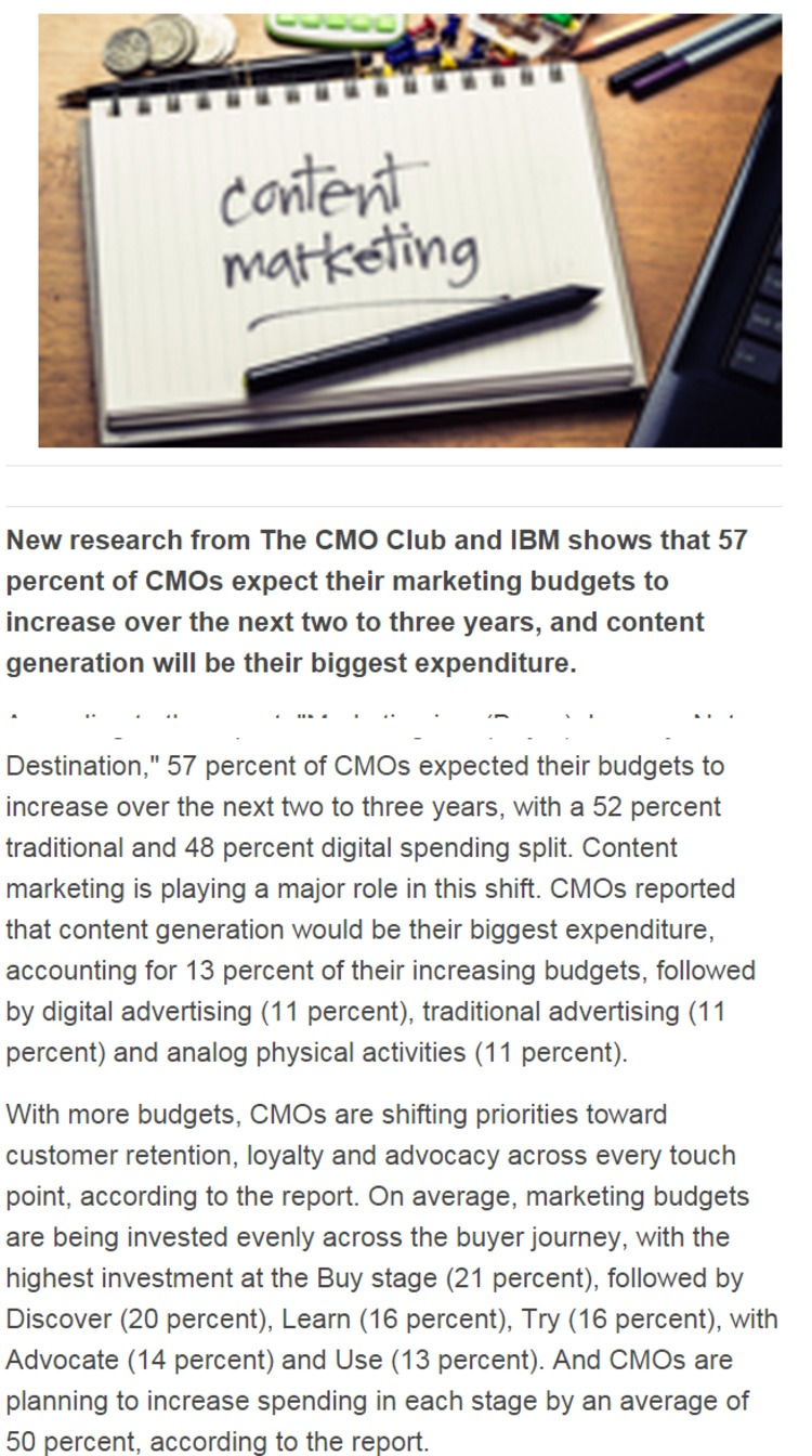 CMOs to Invest More in Brand Experience with Content Marketing - ClickZ | The Marketing Technology Alert | Scoop.it