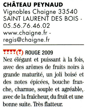 Guide Hubert 2011 - Château Peynaud Bordeaux Supérieur rouge 2009 | Nombrilisme | Scoop.it