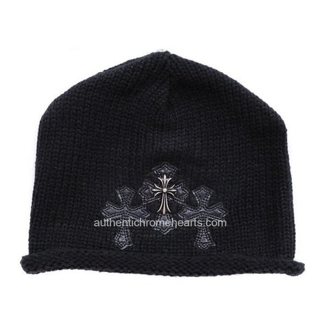 Black Chrome Hearts Knit Cap with Three Leather Crosses [Chrome Hearts Hats] - $112.00 : Authentic Chrome Hearts | Chrome Hearts Online | Boutique | Scoop.it