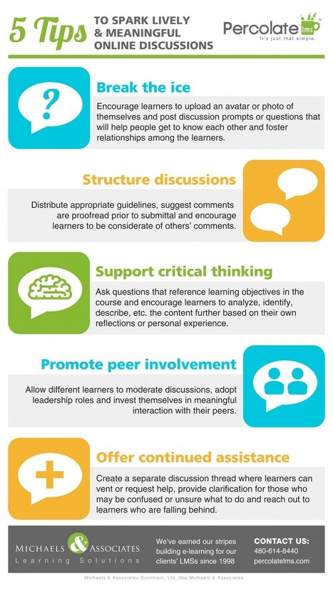 5 Tips to Spark Lively Online Discussions Infographic  - e-Learning Infographics | Instructional Technology | Scoop.it