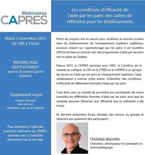 Webinaire du CAPRES – Les conditions d'efficacité de l'aide par les pairs: des cadres de référence pour les établissements | La didactique au collégial | Scoop.it