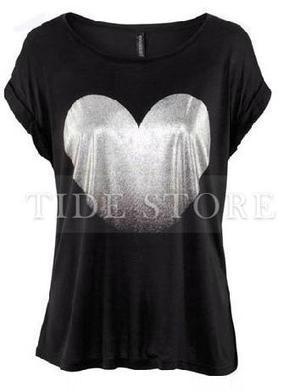Comfortable Assorted Colors Cotton Heart Printed T-Shirt | Dresses | Scoop.it