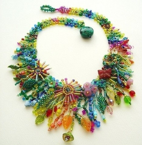 Beadweaving Tutorial No. 9 - Jungle Collar, Intermediate Beadweaving, Peyote Stitch Statement Necklace ... | Bazaar | Scoop.it