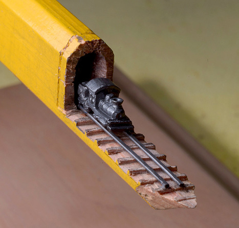 A Carved Graphite Train on Tracks Emerges from Inside a Carpenter's Pencil | xposing world of Photography & Design | Scoop.it