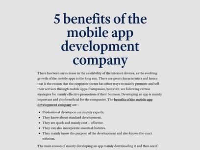 Best of the Mobile app development company | Esolz Technologies | Scoop.it