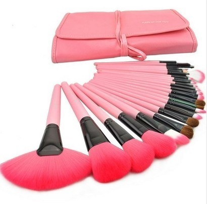 High Quality 24 Pcs/Set Makeup Brush Cosmetic Set Kit Packed In High Quality Leather Case - Pink | bebpiloo | Scoop.it