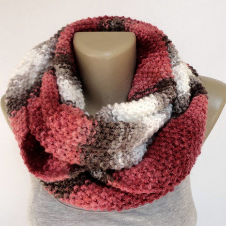 colorful knitted scarf ,infinity scarf ,eternity scarves ,circle tube scarf ,block ,pink brown beige white scarf | scarf | Scoop.it