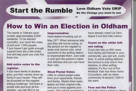 UKIP leaflet which claims Asian candidates could rig the poll is reported to the police | UNITED CRUSADERS AGAINST ISLAMIFICATION OF THE WEST | Scoop.it