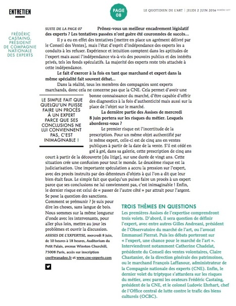 "PRESSE / Le Quotidien de l'Art  3/3 | ""L'Expert-Marchand"" 