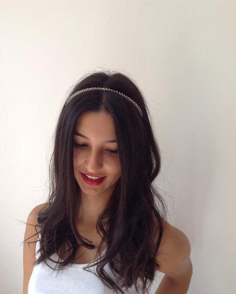 ivory ribbon, hair band, crystal stone, women accessories, bridal hair,wedding hair,bridal accessories,bridesmaid hair | wedding | Scoop.it