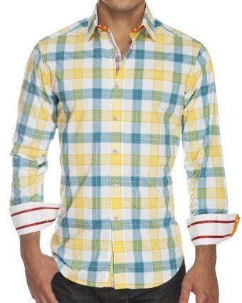 """%%%   Robert Graham """"Wipe Out"""" Flannel Shirts for Men in Yellow & Green Baby Paisley (X-Large) Robert Graham Yellow & Green Plaid 