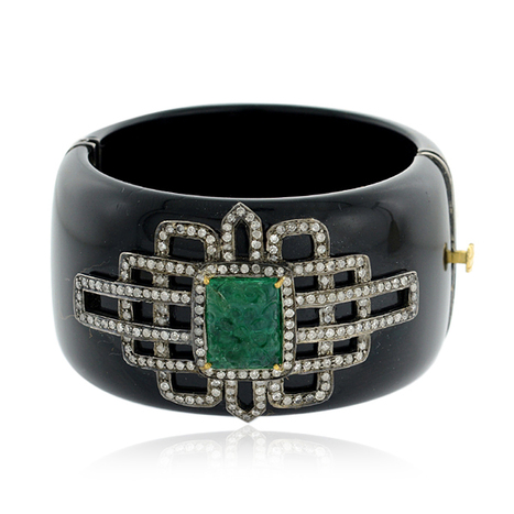 Designer Diamond Bakelite Cuff Bangle Jewelry with 18 k Yellow Gold | Pave Diamond Bangle | Diamond Jewelry | GemcoDesigns | Scoop.it