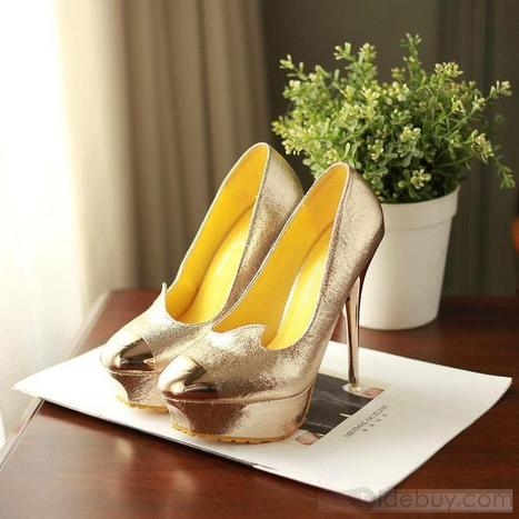 Shinny Golden PU Upper Fish Month Stiletto Heels Prom Shoes/ Evening Shoes | lovely girl | Scoop.it